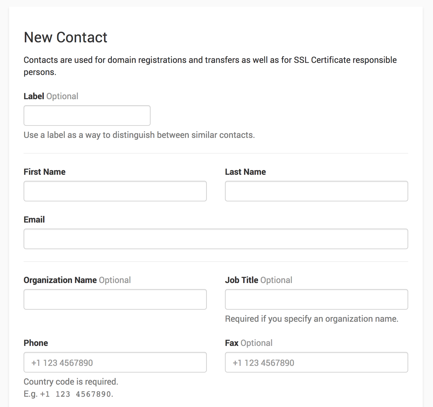 creating a contact during domain registration