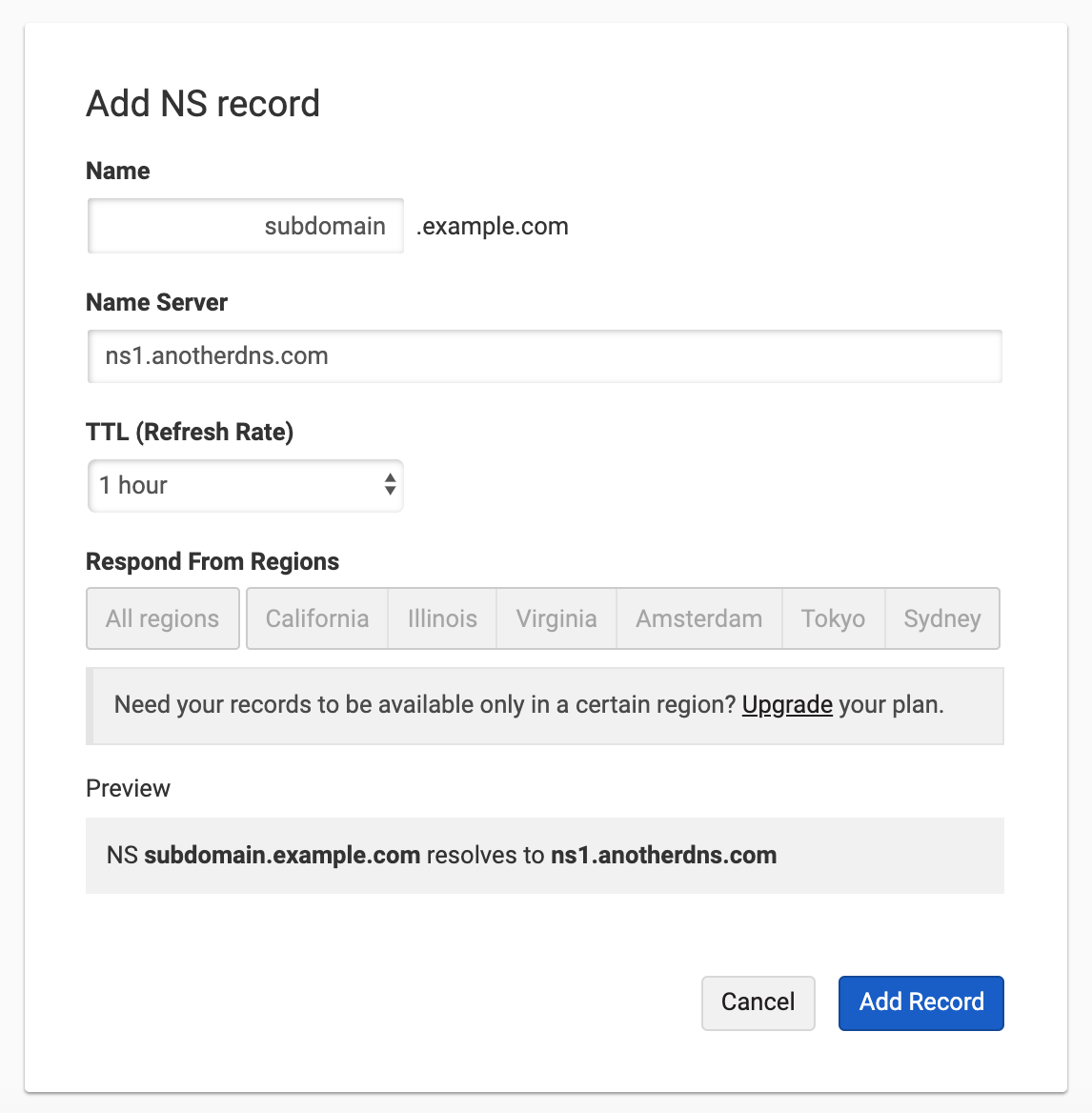 Add NS records for Subdomain