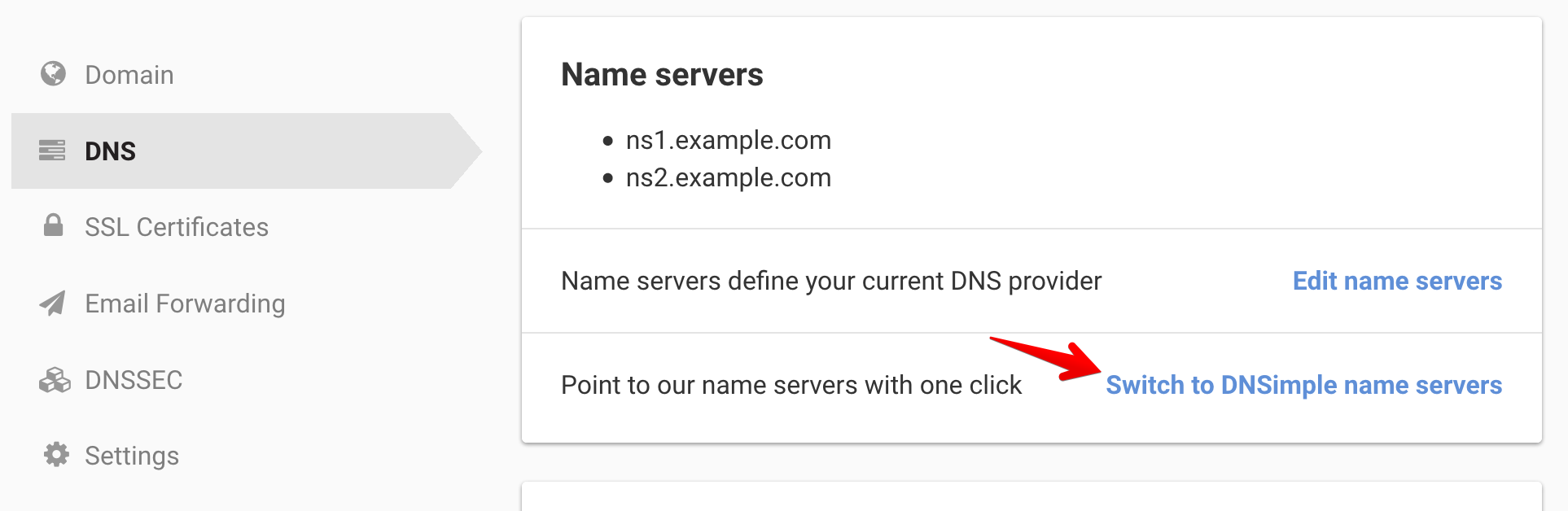 Switch Name Servers link