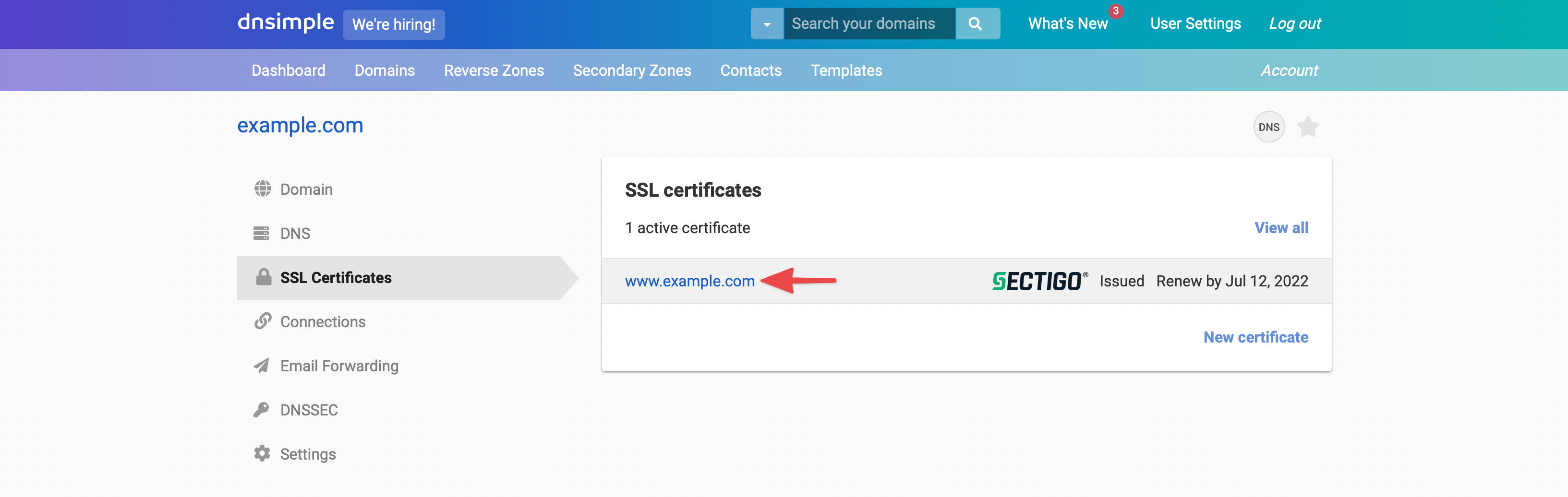 Ssl certificate email based domain validation dnsimple help scroll down to the active ssl certificate list and click on the certificate 1betcityfo Images