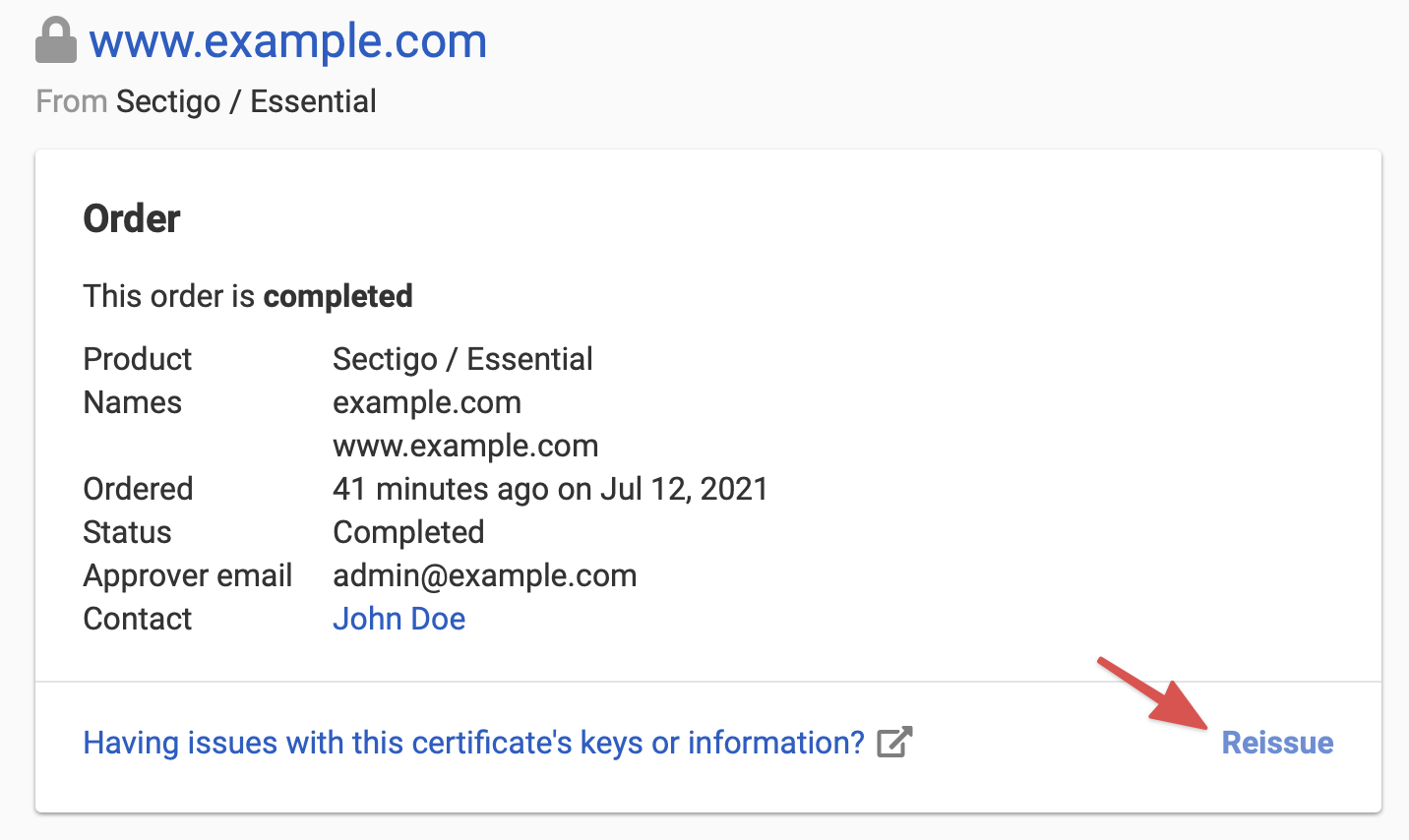 Re issuing an ssl certificate dnsimple help at the page on the status line look for the link to reissue the certificate xflitez Image collections