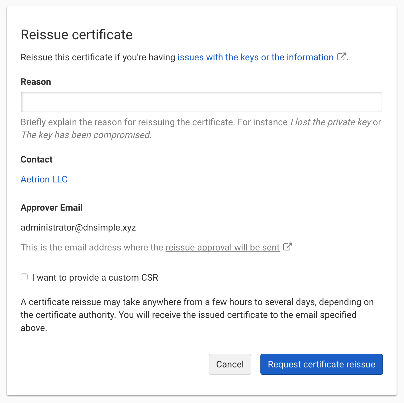 Re issuing an ssl certificate dnsimple help click the link to access the reissue certificate self service section xflitez Image collections