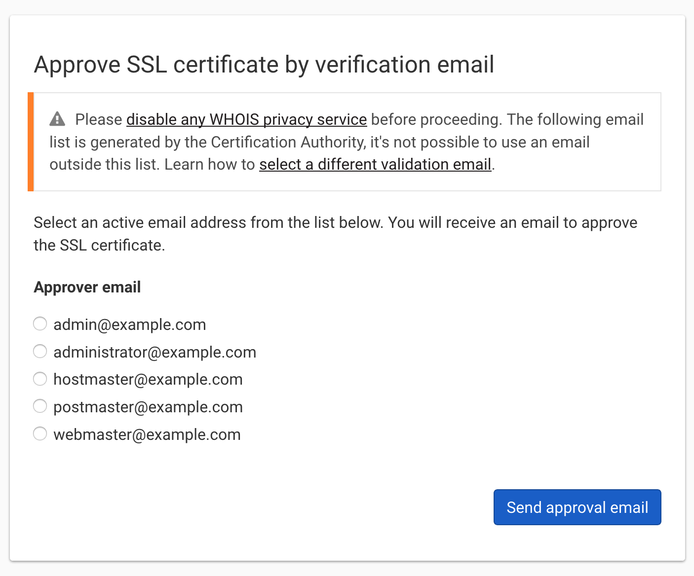 Ssl certificate email based domain validation dnsimple help to select a validation email for a previously purchased certificate xflitez Images