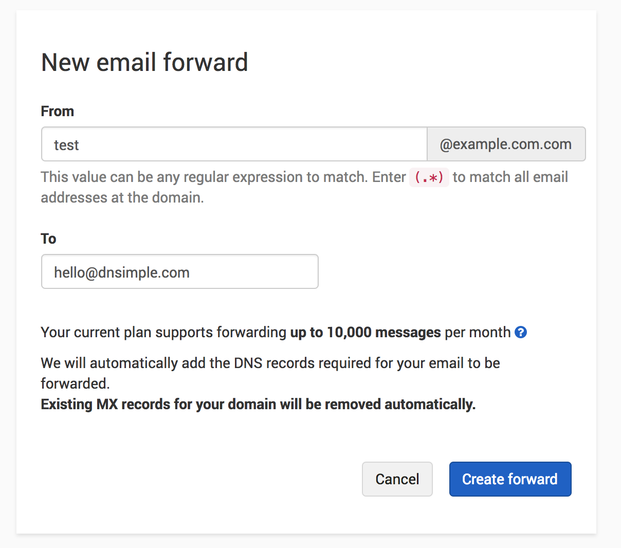 how to change the name of a foward e-mail