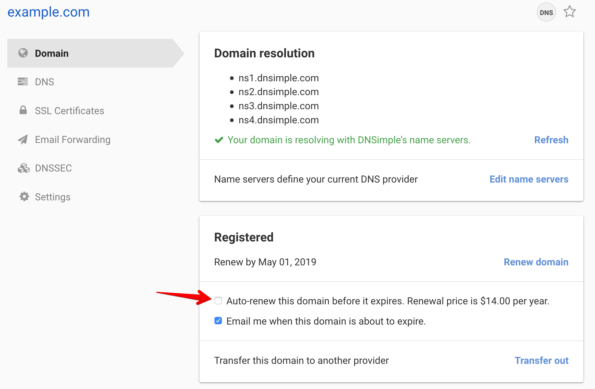 Auto-renewal checkbox