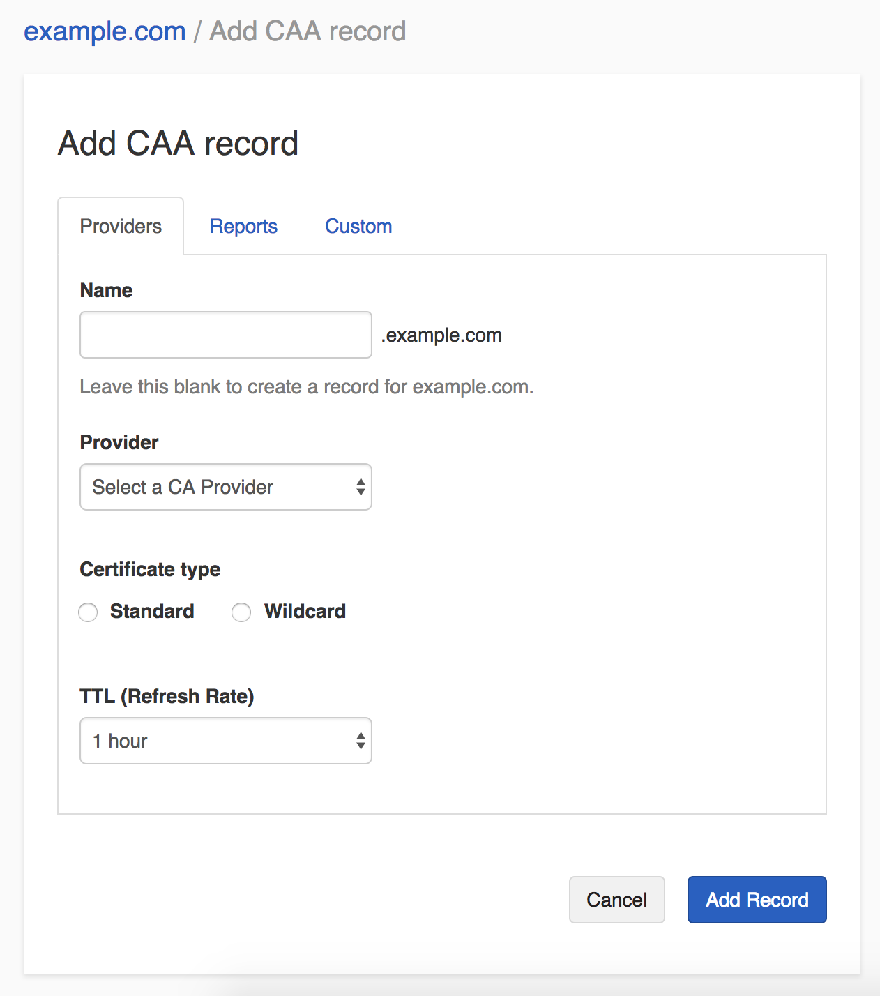 Add update and remove a caa records dnsimple help the name is the subdomain you want to create the record for without the domain name for example if you want to represent wexample enter www 1betcityfo Choice Image