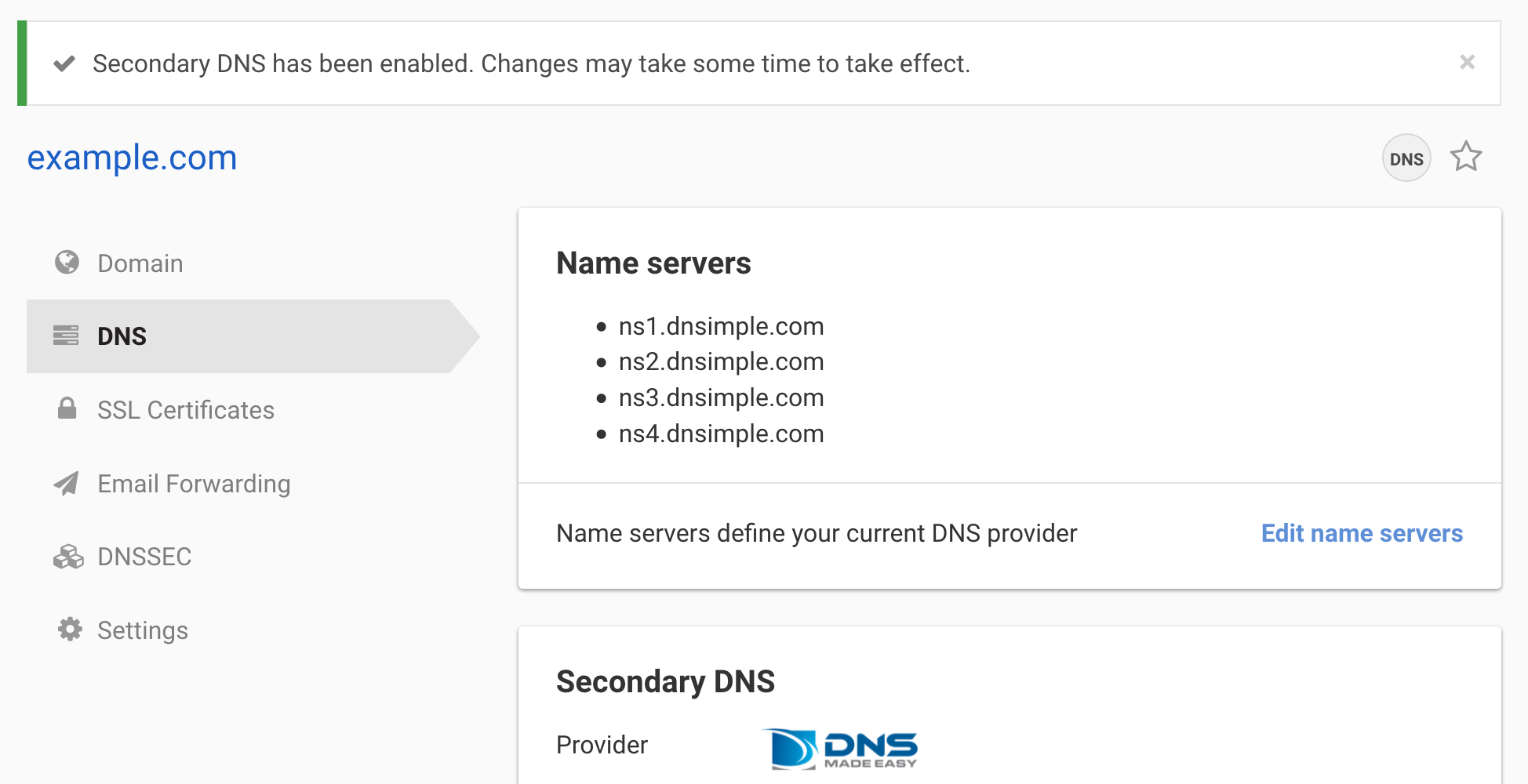 Updated DNS management page