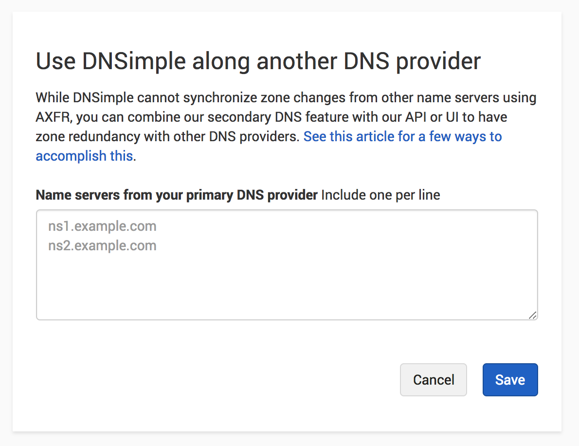 Configure primary DNS provider name servers