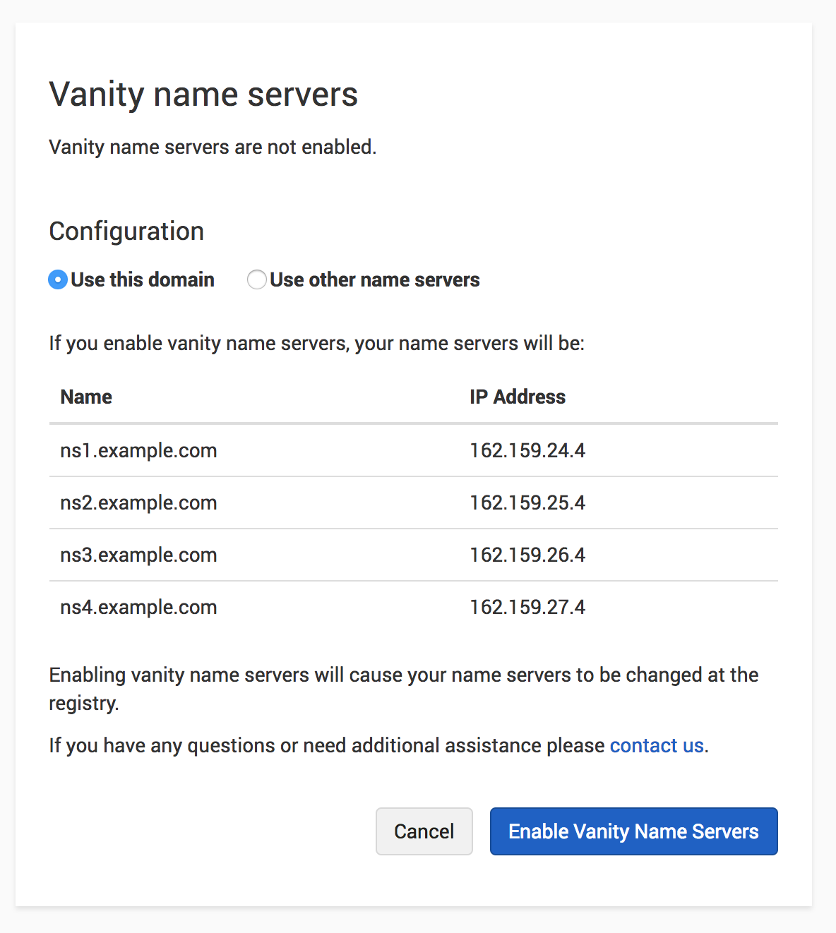 Vanity Name Servers on same domain