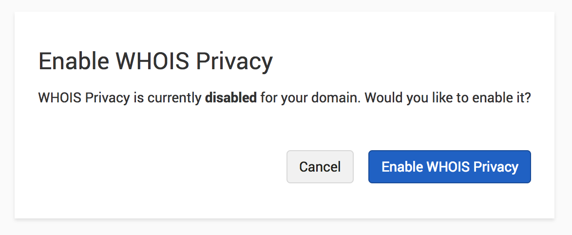 Disable WHOIS Privacy