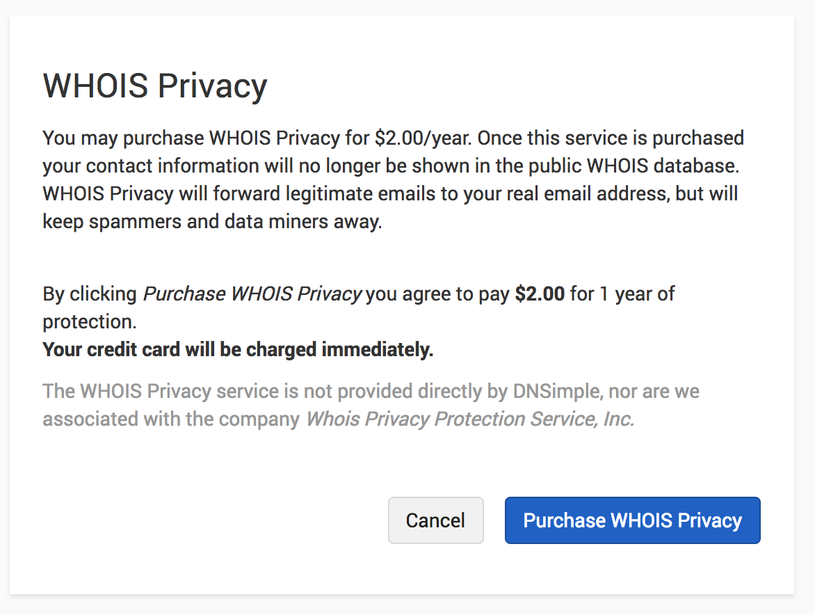 Purchase WHOIS Privacy
