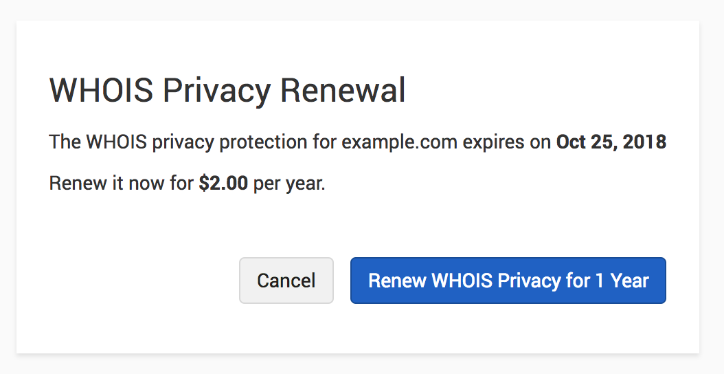 Renew WHOIS Privacy
